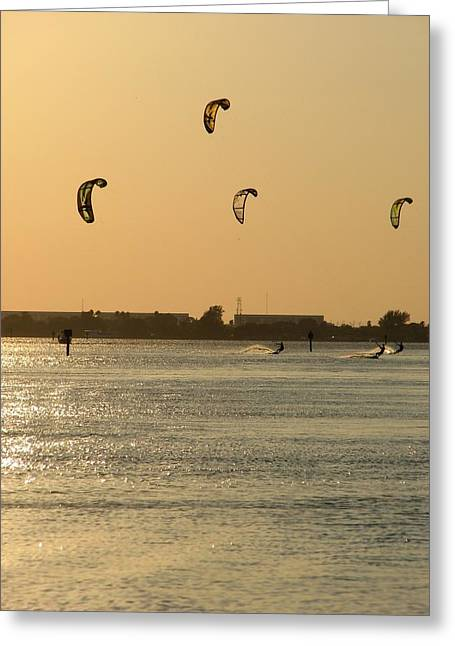 Kite Surfing Greeting Cards - Windy Foursome Greeting Card by Peggy Burley