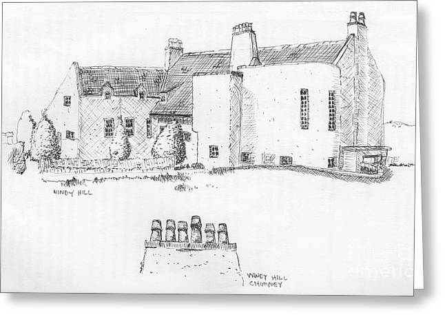Ink Sketch Drawings Greeting Cards - Windy Hill House Greeting Card by Ron Bissett