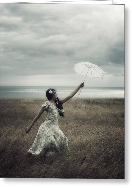Floating Girl Greeting Cards - Windy Greeting Card by Joana Kruse