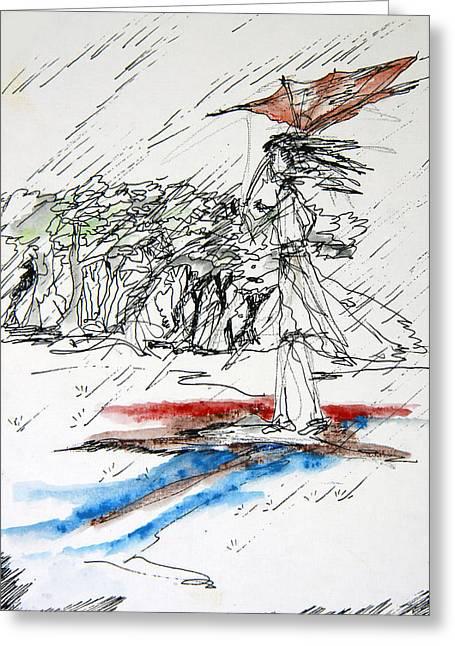 Windy Drawings Greeting Cards - Windy Rain Greeting Card by Kah Wah Tan