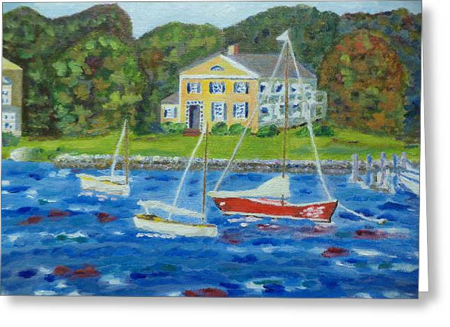 Windy Seaport Greeting Card by Andrea A Patrick