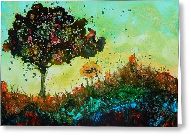 Original Paining Greeting Cards - Windy summer day Greeting Card by Lilia D