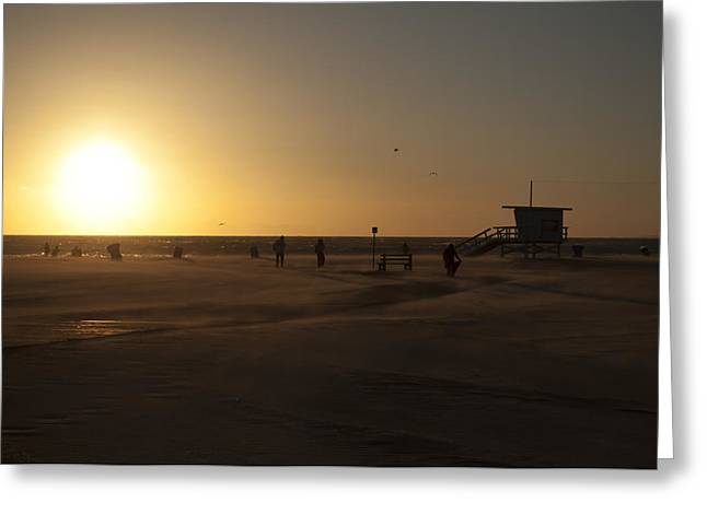 Beach Scenery Pyrography Greeting Cards - Windy Sunset at Santa Monica Beach Greeting Card by Oscar Karlsson