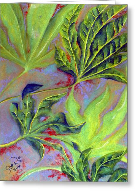 Green Abstract Pastels Greeting Cards - Windy Greeting Card by Susan Will