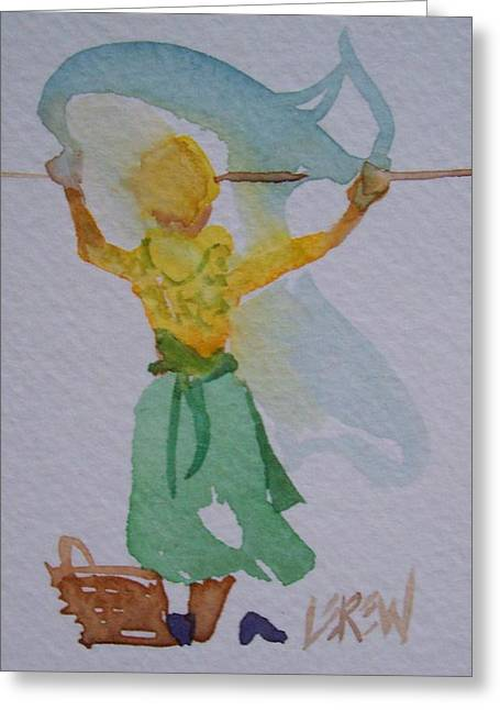 At Work Drawings Greeting Cards - Windy Wash Greeting Card by Larry Lerew