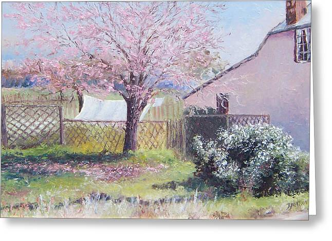 Country Cottage Greeting Cards - Windy Washing Day Greeting Card by Jan Matson
