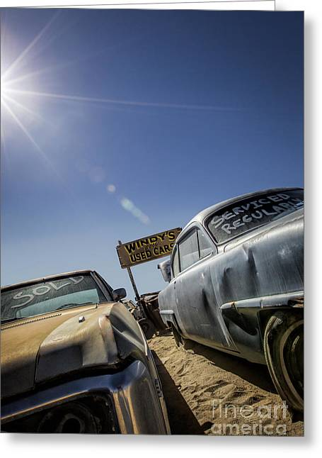 Car Framed Prints Greeting Cards - Windys Used Cars- Metal and Speed Greeting Card by Holly Martin