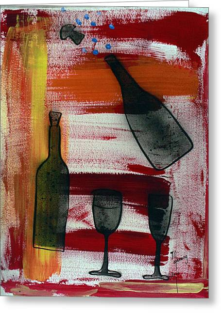 Bubbly Paintings Greeting Cards - Wine - 1717 Greeting Card by Richard Sean Manning