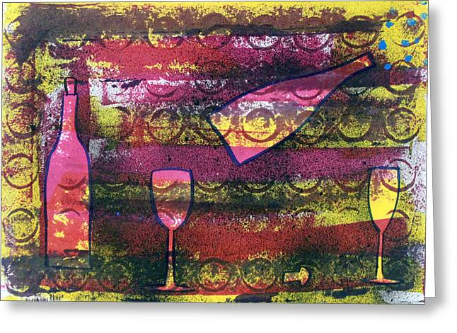 Bubbly Paintings Greeting Cards - Wine - 1720 Greeting Card by Richard Sean Manning