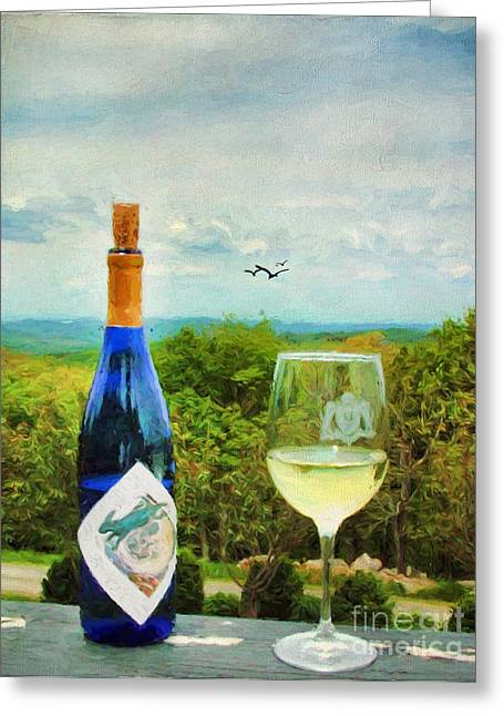 Virginia Wine Art Greeting Cards - Wine and a View Greeting Card by Darren Fisher