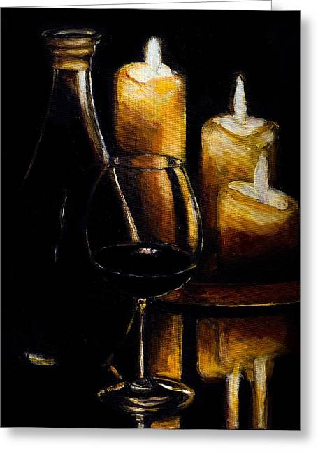 Decanters Paintings Greeting Cards - Wine and Ambiance Greeting Card by Kevin Richard