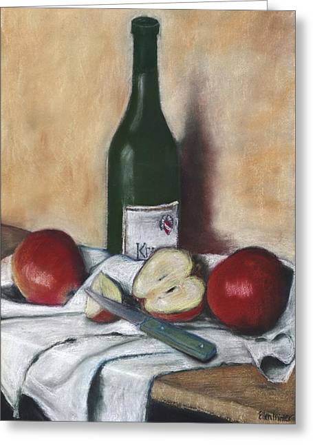 Sonoma Pastels Greeting Cards - Wine and Apples Greeting Card by Ellen Minter