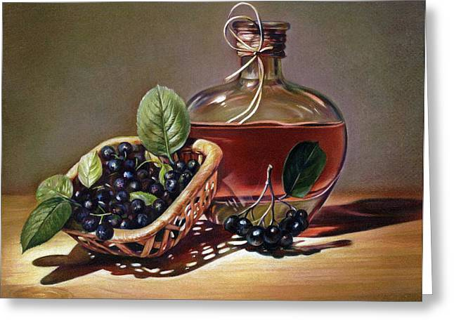 Bottle Of Conjac Greeting Cards - Wine and Berries Greeting Card by Natasha Denger