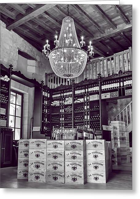 Wine And Chandeliers Black And White Greeting Card by Georgia Fowler