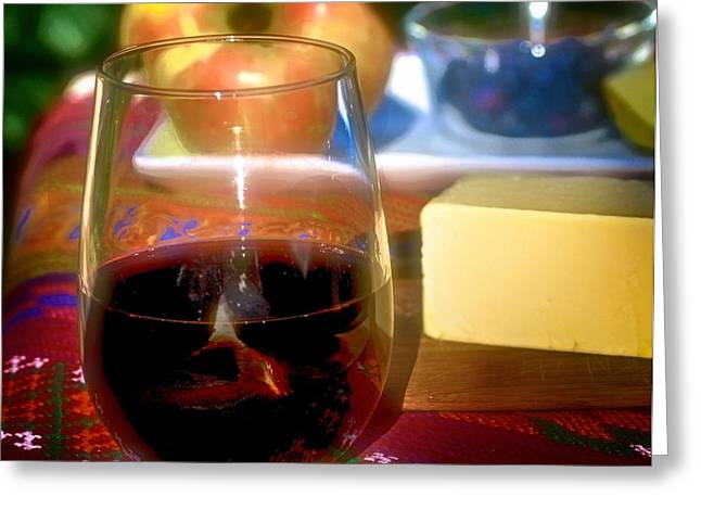 Red Wine Prints Greeting Cards - Wine and Cheddar Greeting Card by Kristina Deane