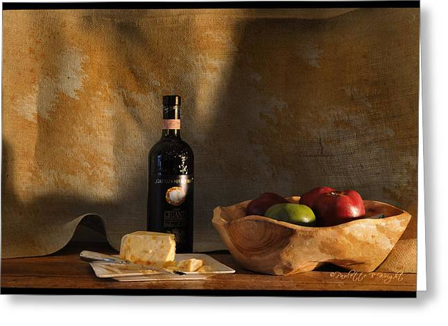 Chianti Greeting Cards - Wine and Cheese 1 Greeting Card by Paulette B Wright