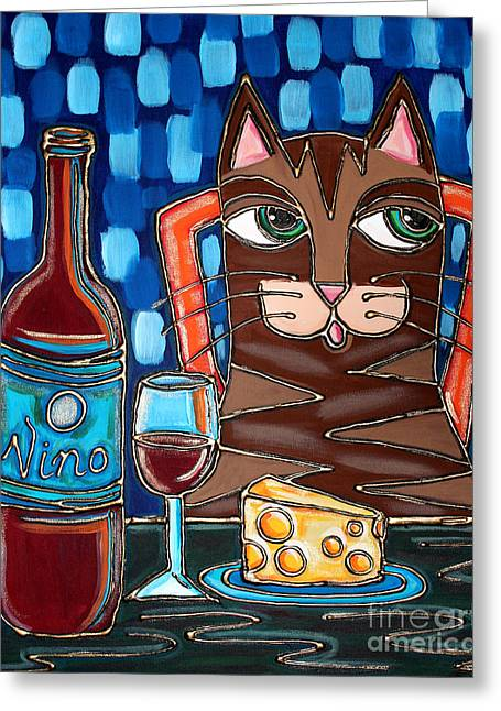 Red Cat Wine Greeting Cards - Wine and Cheese Cat Greeting Card by Cynthia Snyder