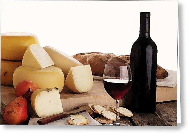 Cheeses Drawings Greeting Cards - Wine and Cheese Greeting Card by Cole Black
