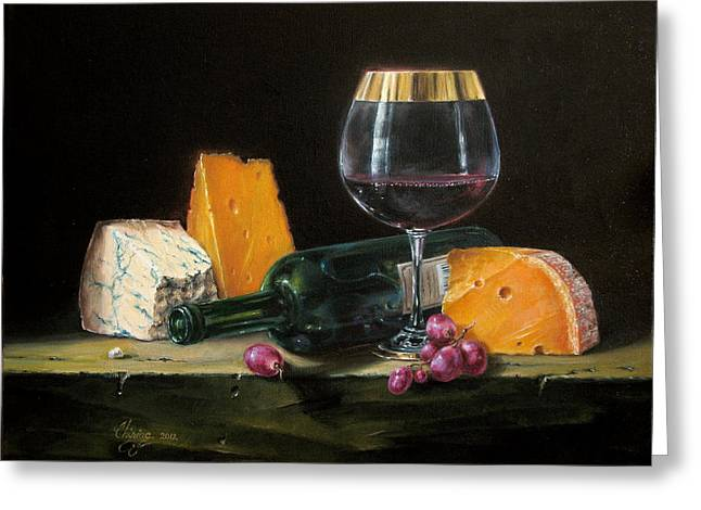 Photorealism Greeting Cards - Wine and cheese Greeting Card by Daniel Cristian Chiriac