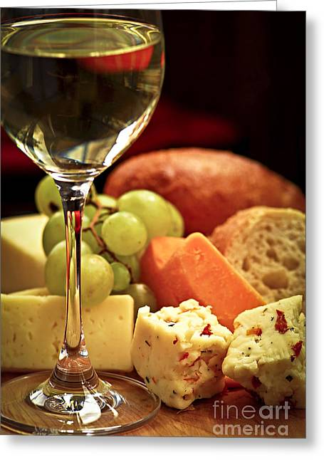 White Photographs Greeting Cards - Wine and cheese Greeting Card by Elena Elisseeva