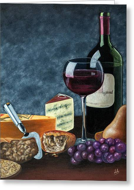Table Wine Greeting Cards - Wine and cheese Greeting Card by Fernando Barozza