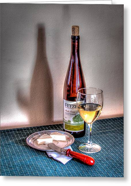 Photography Of Wine Bottles Greeting Cards - Wine and Cheese Greeting Card by Greg Thiemeyer