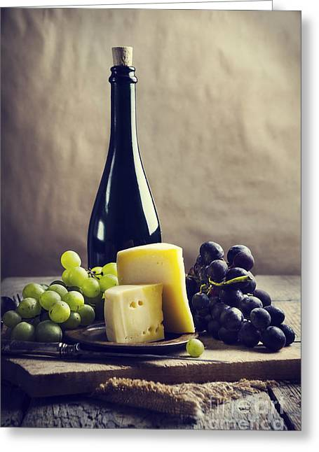 Beverage Pyrography Greeting Cards - Wine and cheese Greeting Card by Jelena Jovanovic