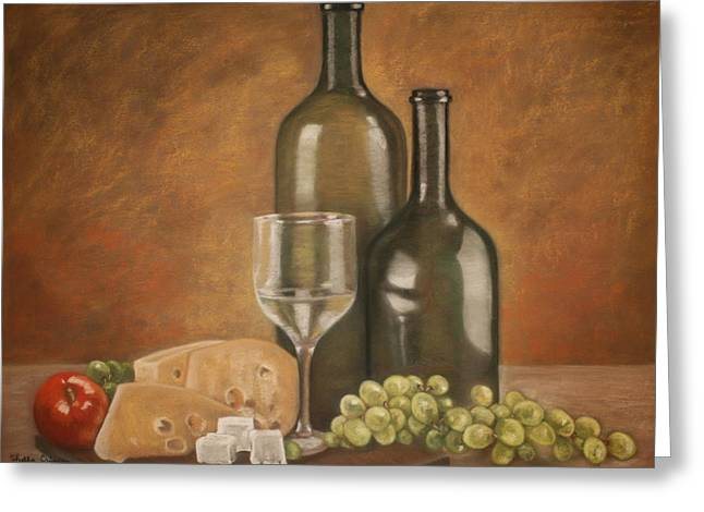 Fruit And Wine Pastels Greeting Cards - Wine and Cheese Greeting Card by Shelly Crippen