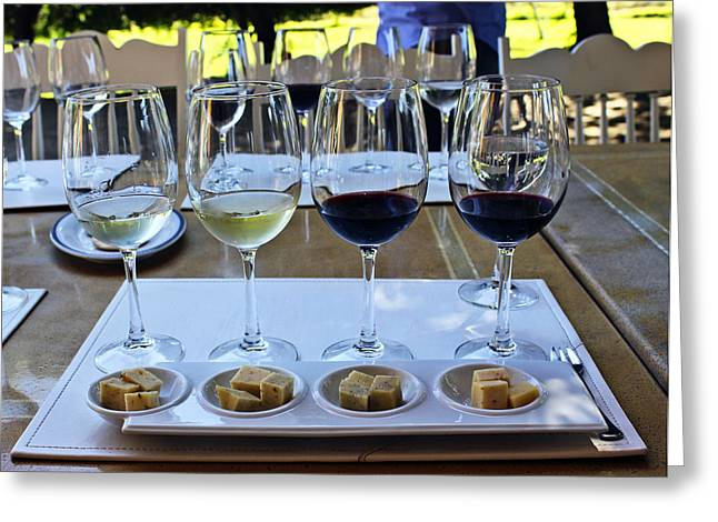 Emiliana Vineyards And Winery Photographs Greeting Cards - Wine and Cheese Tasting Greeting Card by Kurt Van Wagner