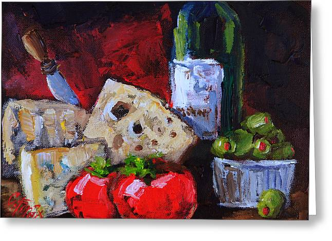 Italian Wine Greeting Cards - Wine and Cheeses Greeting Card by Carole Foret