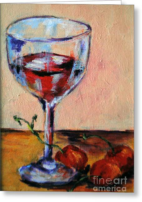 Long Stem Wine Glass Greeting Cards - Wine and Cherries Greeting Card by Toelle Hovan