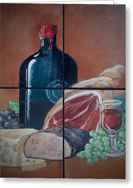 Food And Beverage Ceramics Greeting Cards - Wine And Dine Greeting Card by Andrew Drozdowicz
