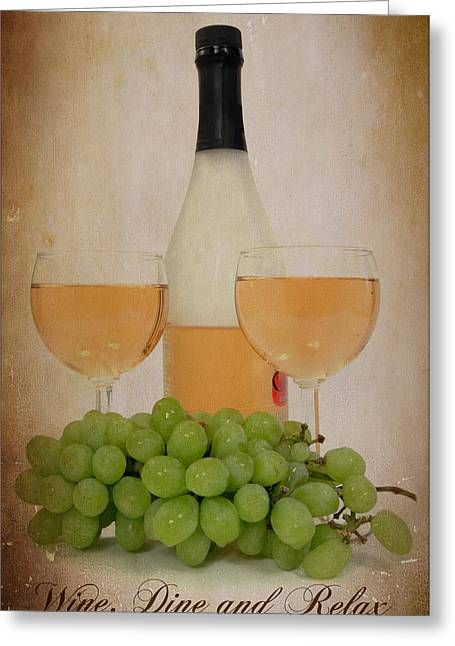 Wine Pour Digital Greeting Cards - Wine and Dine Greeting Card by Cindy Haggerty