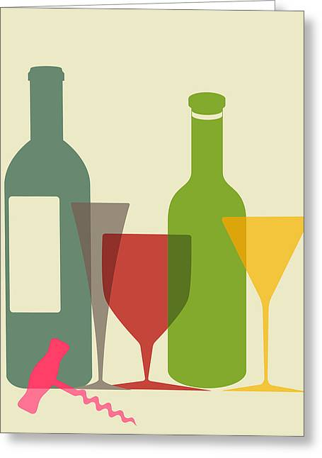 Wine And Dine Greeting Card by Ramneek Narang