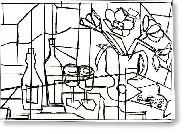 Famous African Americans Drawings Greeting Cards - Wine and Flowers for Two - Drawing Greeting Card by Everett Spruill