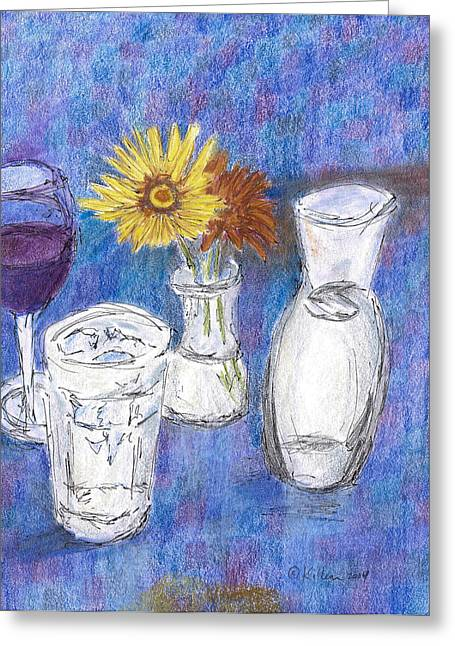 Red Wine Prints Mixed Media Greeting Cards - Wine and Flowers Greeting Card by William Killen