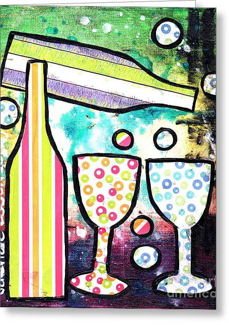Beautiful Wine Grape Print Greeting Cards - Wine and Glass Collage Abstract Greeting Card by Genevieve Esson