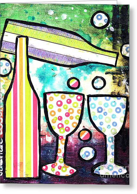 Purple Grapes Greeting Cards - Wine and Glass Collage Abstract Greeting Card by Genevieve Esson