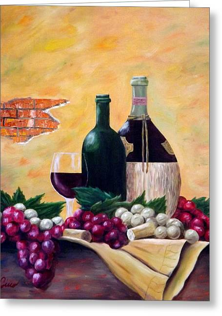 Chianti Bottle Greeting Cards - Wine and Grapes Greeting Card by Gino Didio