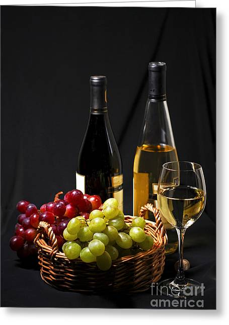 Basket Photographs Greeting Cards - Wine and grapes Greeting Card by Elena Elisseeva