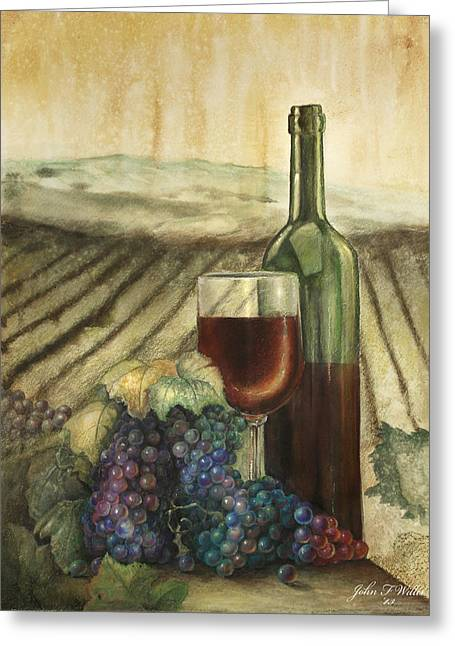 Italian Landscape Pastels Greeting Cards - Wine and grapes Greeting Card by John F Willis