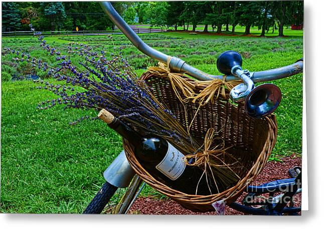 Wine Lovers Greeting Cards - Wine and Lavender Greeting Card by Paul Ward