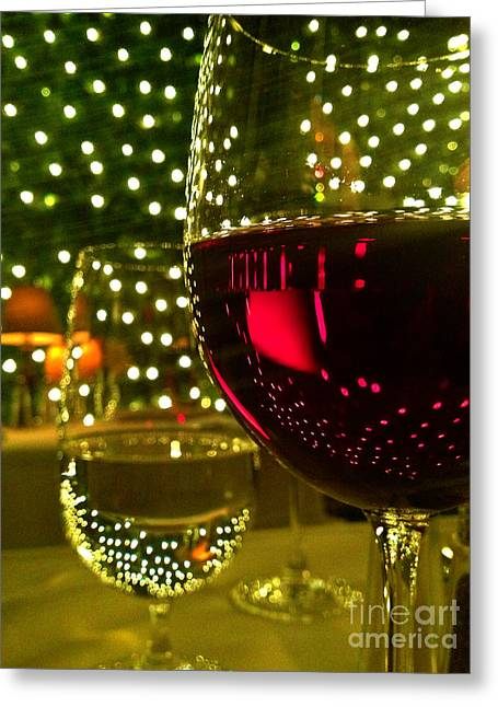 Glass Table Reflection Greeting Cards - Wine and Lights Greeting Card by Micah May