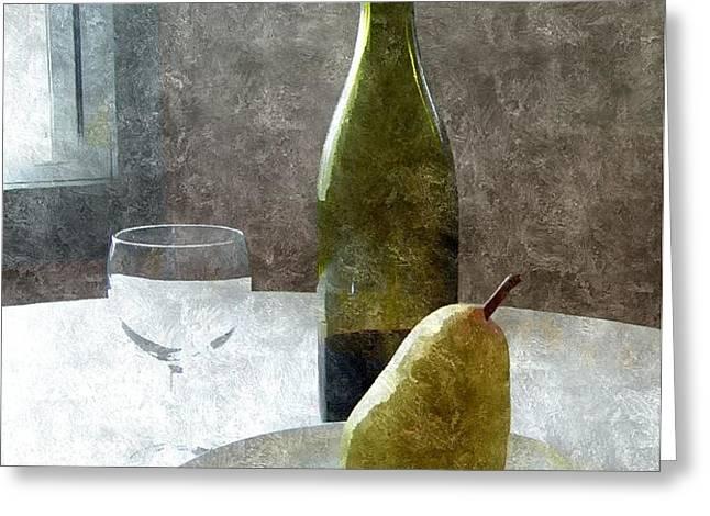 Wine and Pear Greeting Card by Karyn Robinson