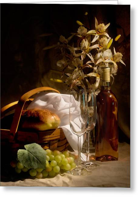 Basket Greeting Cards - Wine and Romance Greeting Card by Tom Mc Nemar