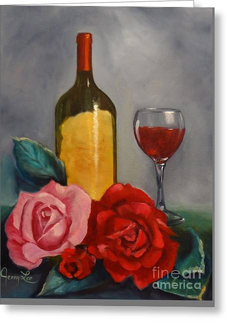 Wine For Two Greeting Cards - WIne and Roses Greeting Card by Jenny Lee