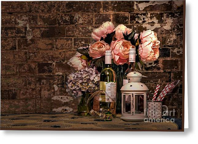 Wine And Roses Greeting Card by Kaye Menner