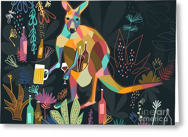 Stein Greeting Cards - Wine loving Kangaroo Greeting Card by Kate Cosgrove