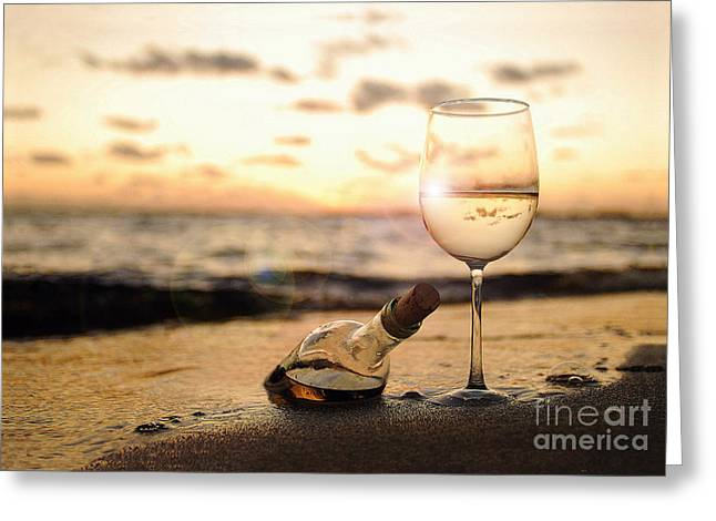Wine Cork Greeting Cards - Wine and Sunset Greeting Card by Jon Neidert