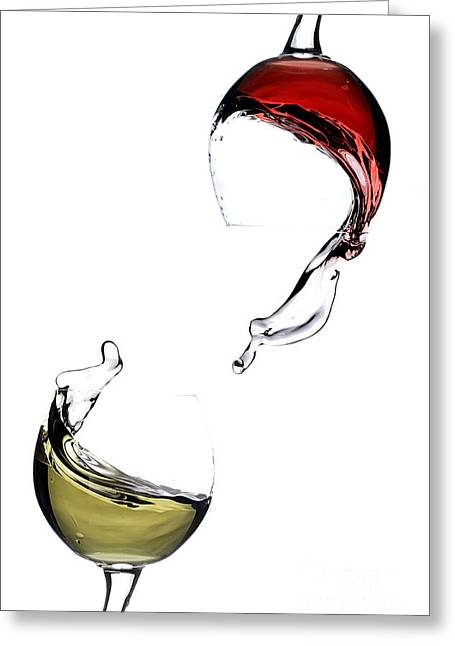 Red Wine Splash Greeting Cards - Wine Greeting Card by Andreas Berheide